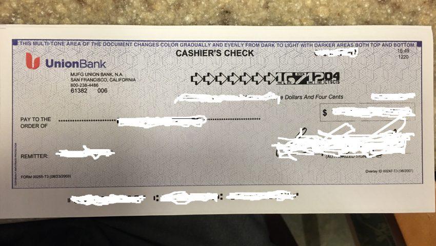 Cashier's Check Photo