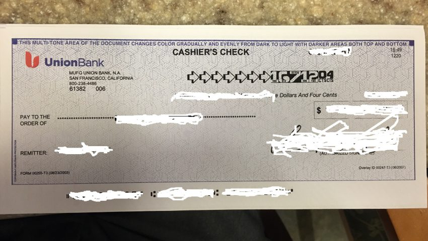 Cashier's Check Photo