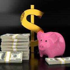 アメリカドルと豚の貯金箱